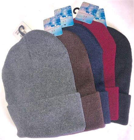 48 Unisex Winter Beanies with Cuff Assorted Colors. Super warm and Comfortable