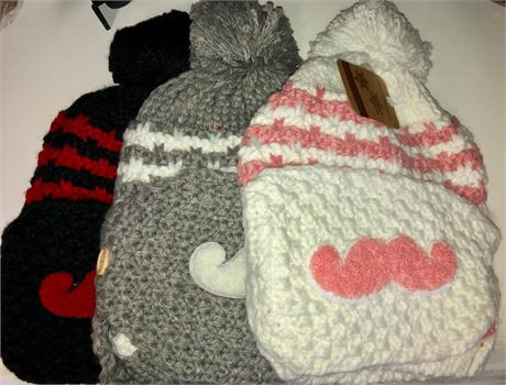 24 Ladies 2 pc Knitted Hat Set with Novelty Mustache Facemask Asst Colors