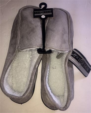 12 pairs of men's ron chereskin fur-like house slippers suede-like exterior