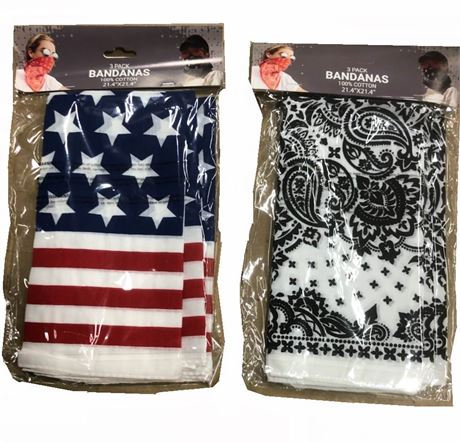 3-Pack Cotton Bandanas (White Paisley & Patriotic) – Only $1.50/Pack – $8.99 Ret