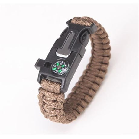 Brown Survival Wrap Emergency Paracord Bracelet W/ Fire Starter, Compass & More!